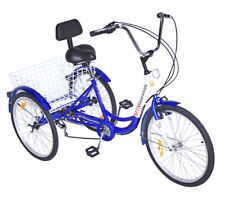 "3-Wheels Trike 24"" Adult Tricycle 7-Speed Shimano Men's/women's Blue Bicycle"