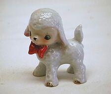 Old Vintage Ceramic Baby Lamb w Red Bow Tie Figurine Shadowbox Shelf Japan MCM