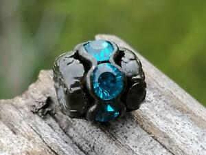 Vintage Swarovski Aqua Topaz Blue Rhinestone Black Metal Bead DIY Jewelry Making