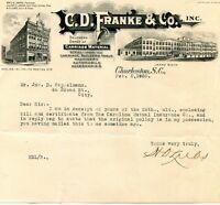 C D FRANKE & CO CHARLESTON, SC  ILLUSTRATED LETTERHEAD  H D LUBS SIGNED