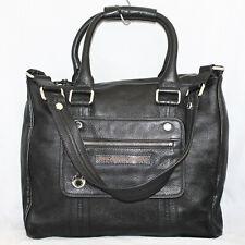 MARC JACOBS Black Pebbled Leather Large Convertible Satchel Shoulder Bag Tote
