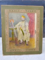 1920s Vintage Early Black & White Hand Colored King Holding Sword Gun Photograph