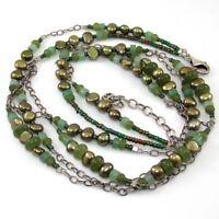 Silpada N1683 Sterling Silver Jade Pearl Adventurine Multi Strand Necklace SGA