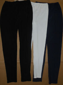 NWT Matte Spandex Leggings Skinny Pants Navy, Black or White Adult/Child Szs