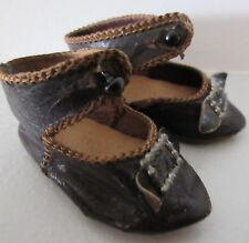 Eden Bebe size 6 . pair of antique leather shoes . length 2 1/4 in. french doll
