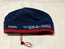 ROOTS 2002 Olympics Beret Cap Hat Beanie USA Olympic Team Blue Red One Size