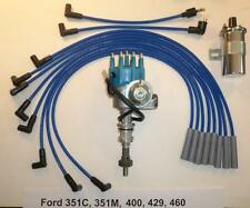 FORD 351C/M-400-429-460 BLUE Small HEI Distributor + 45K Coil + SPARK PLUG WIRES