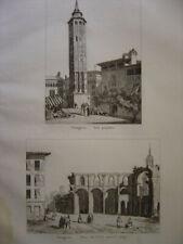 Gravure de SARAGOSSE Zaragoza Tour penchée Place du Cosso après le siège