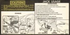 CHEVROLET 1975-78 Corvette Car Jack Stowage & Jacking Instructions Decal #359670