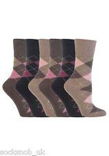 6 Pairs Womens SockShop Cotton Gentle Grip Socks 4-8 UK 37-42 EU Argyle Gg38
