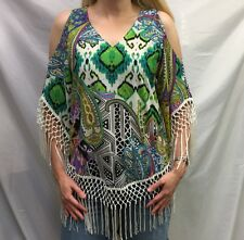 CHICO'S Tunic TOP SZ 0 (4/6) Retro COLD SHOULDER Fringe Paisley NEW