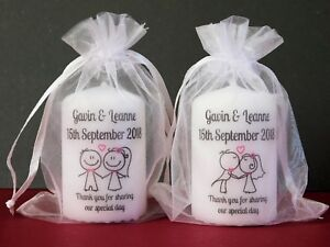Personalised Wedding Favour Candle Cute Mr & Mrs Design 6cm x 4cm Set 10