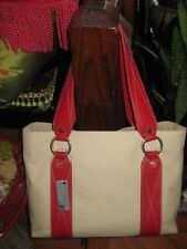 NWT City DKNY Tan Canvas Tote Bag Shopper Red Trim and Silver Hardware