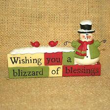 Blizzard of Blessings Snowman Blossom Bucket Resin Figurine Suzi Skoglund