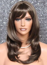 Choppy Layered Gorgeous Straight face Frame Chestnut Brown Mix Wig swt 8-16 NWT