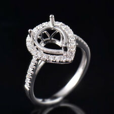 Natural Diamond Semi Mount Bridal Ring Settings Pear 10×8mm Solid 14K White Gold