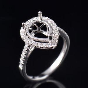 Pear 10×8mm Natural Diamond Semi Mount Bridal Ring Settings Solid 14K White Gold