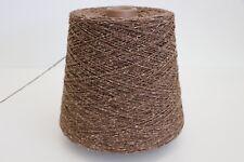 R41 500g SCHURWOLLE / SEIDE TORFBRAUN (3,3) Wolle Zwirn Strick