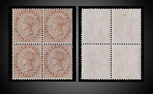 1880 BERMUDA 1/2 p BROWN BLOCK OF 4 , 3 VALUES HINGED , ONE LITTLE HINGED OR NH
