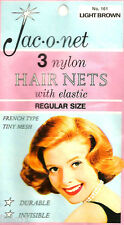 Jac-O-Net  #161  French Type Tiny mesh Hair Nets  w/Elastic (3) pcs  Lt. Brown