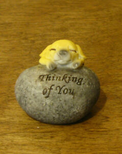 Top Collection Enchanted Story Fairy Garden #4230 PUPPY on STONE THINKING OF YOU