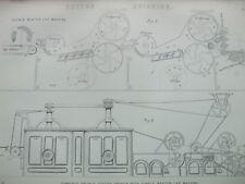 ANTIQUE PRINT C1870'S COTTON SPINNING ENGRAVING COTTON OPENER LAP MACHINE ART