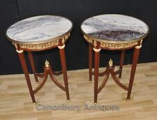 Pair French Empire Round Side Tables Cocktail Furniture