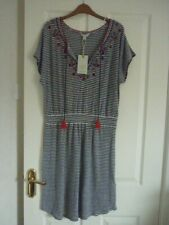Monsoon Heidy Navy Ivory Stripe Linen Mix Mini Dress UK 14 EUR 42 US 10.