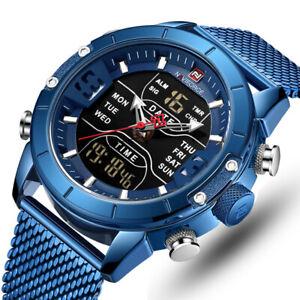NAVIFORCE Men Sport Stainless Steel Waterproof Analog Digital Quartz Wrist Watch
