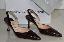 $5400 NEW Manolo Blahnik CAROLYNE Burgundy Bordeaux ALLIGATOR CROCODILE SHOES 36