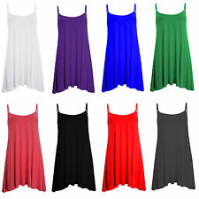 WOMENS PLAIN LONG CAMI SWING DRESS CAMISOLE PLUS SIZE STRAPPY VEST SUMMER TOP