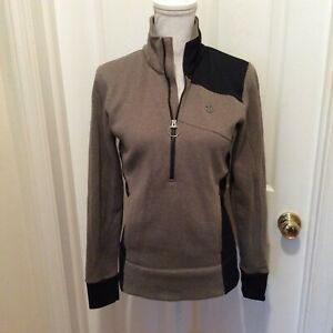 Pearl iZumi Top M Gray-Beige Black Knit Quarter Zip Long Sleeve