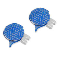 2 x Stainless Steel Cap Design Golf Hat Clip Magnetic with Ball Marker Blue