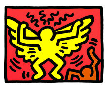 Untitled pl 1 from Pop Shop IV by Keith Haring A2+ High Quality Canvas Art Print