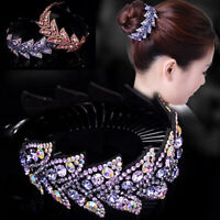 Womens Crystal Rhinestone Hair Clips Claw Clamp Bun Net Ponytail Holder Headress