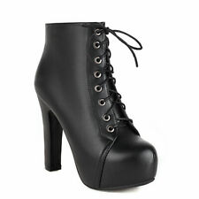 Women's Platform Combat Boots Lace Up Chunky High Heel Ankle Bootie US 6 Black