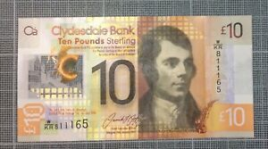 W/KR811165 - NEW £10 💷 STERLING CLYDESDALE BANK 🏦 🏴