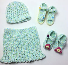Toddler girl Crochet Outfit- Skirt- Hat- Sandals- Mary Jane sandals- Size 4