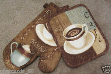 New listing Kitchen oven Mitt Pot holder set cafe Mocha latte coffee cappuccino Cup Design