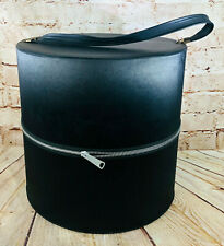 """Vintage Black Hat Case Storage Container Large 12.5"""" Tall /w Handle Strap"""