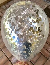 Metallic Silver Confetti Balloons Clear  - Pack of 3 - 1st Birthday Wedding