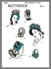 Vintage Butterick  Charming Bonnet Type Hats Fabric Sewing Pattern # 3957