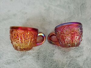 """2 Imperial Marigold Iridescent Carnival Glass Pinwheel & Star Punch Cup 2-1/4"""""""