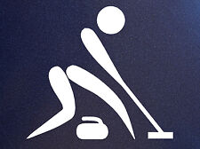 CURLING PICTOGRAM Broom Sweep Rock Curl Granite Stone Curler Vinyl Sticker Decal