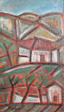 Vintage Abstract Landscape Oil Painting Signed