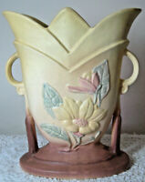 "Vintage 1940s HULL ART POTTERY 8.5"" Magnolia Vase Beige to Brown Matte Finish"