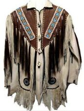 Mens Cowboy Jacket Suede Leather Fringe Beads 1980s Western Native American Coat