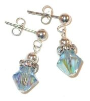 AQUAMARINE Crystal MARCH Birthstone Earrings Sterling Silver Swarovski Elements