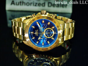 NEW Invicta Men's 48mm SPEEDWAY Chronograph BLUE DIAL 18K Gold Plated SS Watch