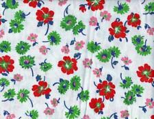 Full Opened Feedsack Fabric with Red Pink and Green Flowers, Blue Leaves 20188